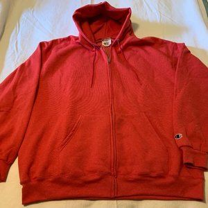 3XL  HOODED ZIPPER -CHAMPION - RED - HEAVYWEIGHT